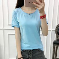 Solid Color Round Neck Short Sleeves T-Shirt - Light Blue