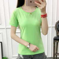 Solid Color Round Neck Short Sleeves T-Shirt - Light Green