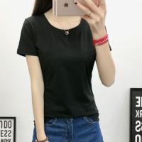 Front Pocket Solid Color Round Neck Short Sleeves T-Shirt - Black