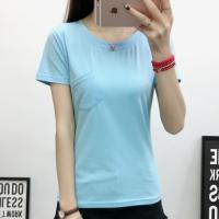 Front Pocket Solid Color Round Neck Short Sleeves T-Shirt - Light Blue