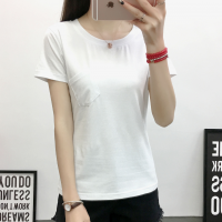Front Pocket Solid Color Round Neck Short Sleeves T-Shirt - White
