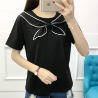 Sailor Neck Straight Summer Wear Solid Color Top - Black