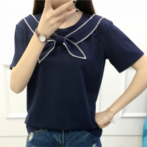 Sailor Neck Straight Summer Wear Solid Color Top - Dark Blue