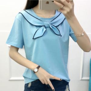 Sailor Neck Straight Summer Wear Solid Color Top - Light Blue