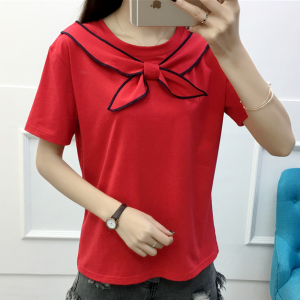 Sailor Neck Straight Summer Wear Solid Color Top - Red