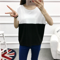 Contrast Two Shade Patched Loose Wear Top - Black and White