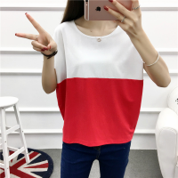 Contrast Two Shade Patched Loose Wear Top - White Red