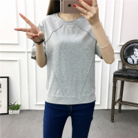 Round Neck Lining Loose Wear Straight Casual T-Shirt - Gray