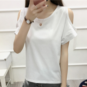 Cold Shoulder Boho Style Solid Color Blouse Top - White