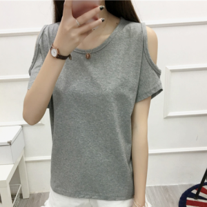 Cold Shoulder Boho Style Solid Color Blouse Top - Gray