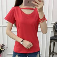 V Neck Short Sleeved Solid Color Women Summer Top - Red