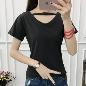 V Neck Short Sleeved Solid Color Women Summer Top - Black