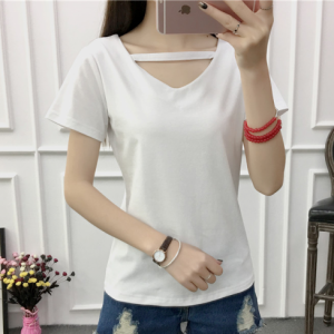 V Neck Short Sleeved Solid Color Women Summer Top - White