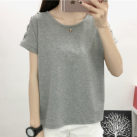 Thread Art Round Neck Casual Summer Blouse Top - Gray