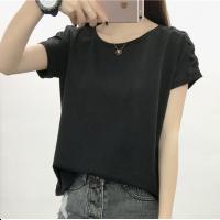 Thread Art Round Neck Casual Summer Blouse Top - Black