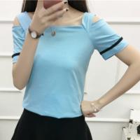Cold Shoulder Square Neck Summer Wear Women Blouse Top - Light Blue