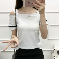 Cold Shoulder Square Neck Summer Wear Women Blouse Top - White