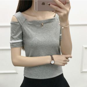 Cold Shoulder Square Neck Summer Wear Women Blouse Top - Gray