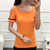 Cold Shoulder Square Neck Summer Wear Women Blouse Top - Orange