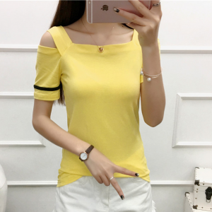 Cold Shoulder Square Neck Summer Wear Women Blouse Top - Yellow