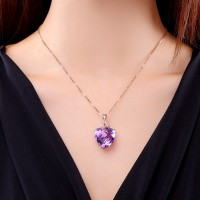 Elegant Heart Shaped Amethyst Pendant Necklace Mothers Day Wedding Gift