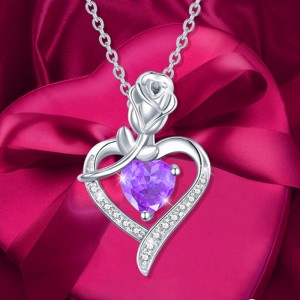Rose Flower Heart Pendant Necklace Mothers Day Wedding Gift