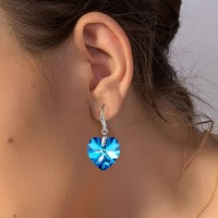 Love Heart Earrings with Crystals For Women