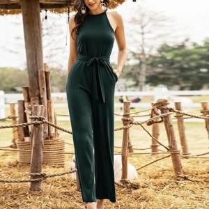 Halter Neck Solid Color Full Length Jumpsuit Romper Dress