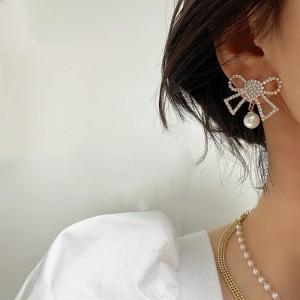Full Diamond Pearl Bow Earrings - Silver