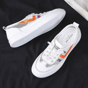 Hollow Contrast Lace Closure Flat Sneakers - Orange
