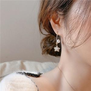 Pearl Pentacle Rhinestone Earrings - Golden
