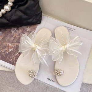 Ribbon Shiny Pearl Decorative Party Wear Slippers - Beige
