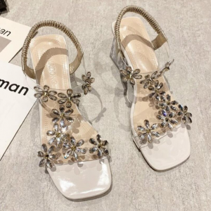 Floral Patched Slip Over Party Wear Sandals - Beige