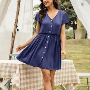 V Neck Button Closure Short Sleeves Mini Dress - Blue