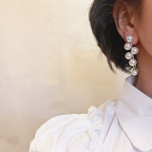 Retro Ancient Temperament Long Pearl Earrings - White