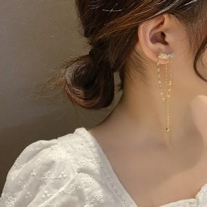 Five Pointed Star Sweet Tassel Earrings - Golden