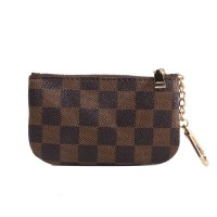 Geometric Printed Mini Synthetic Leather Keychain Wallet - Brown