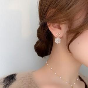 Retro Simple Heart Crystal Earrings - Golden