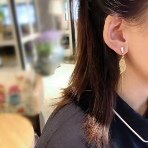 Banana Leaf Shape Tassel Earrings - Golden