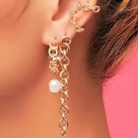Gold Plated Braided Chain Hanging Ear Jewellery Set - Golden