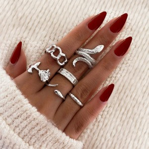 Silver Plated Six Pieces Vintage Wear Rings Set - Silver