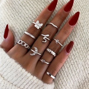 Silver Plated Ten Pieces Vintage Wear Rings Set - Silver