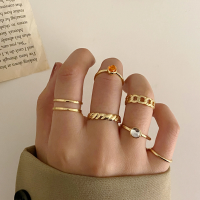 Six Pieces Gold Plated Crystal Patched Rings Set - Golden