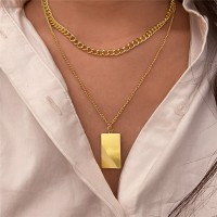 Silver Plated Hooked Closure Women Fashion Necklace - Golden
