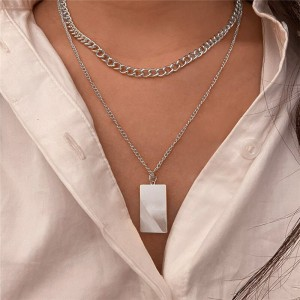 Silver Plated Hooked Closure Women Fashion Necklace - Silver