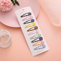 Ten Pieces Polka Dots Press Lock Women Fashion Hair Clips - Multicolor