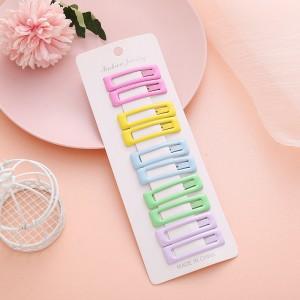 Ten Pieces Multicolor Press Lock Women Fashion Hair Clips - Multicolor