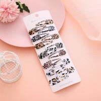 Twelve Pieces Printed Press Lock Hair Clips Set - Multicolor
