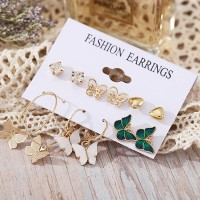 Gold Plated Butterfly Carved Party Wear Earrings Set - Golden
