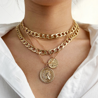 Gold Plated Hook Closure Women Fashion Braid Necklace - Golden